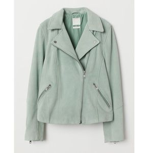 H&M Gray Green Biker Moto Suede Jacket